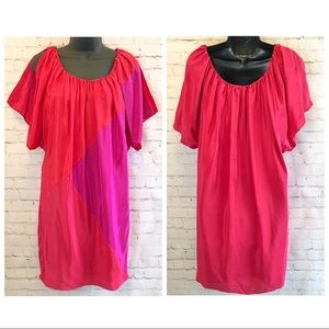 Phoebe Couture pink color block silk shift dress 4